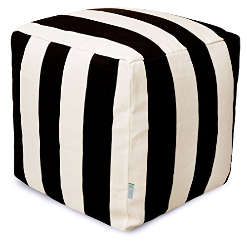 Majestic Home Goods Black Vertical Stripe Indoor/Outdoor Bean Bag Ottoman Pouf Cube 17'' L x 17'' W x 17'' H by Majestic Home Goods