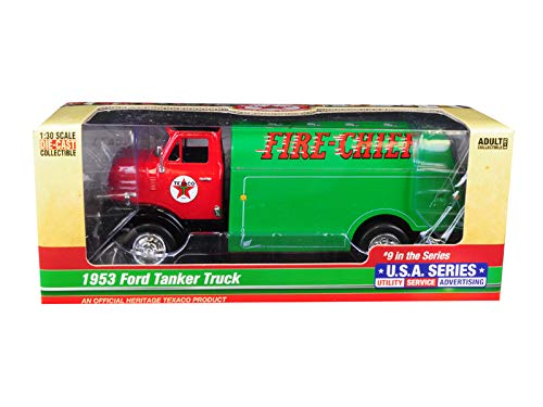 1953 Ford Tanker Truck Texaco Fire-Chief 9th in The Series U.S.A. Series Utility, Service, Advertising 1/30 Diecast Model by Autoworld CP7520