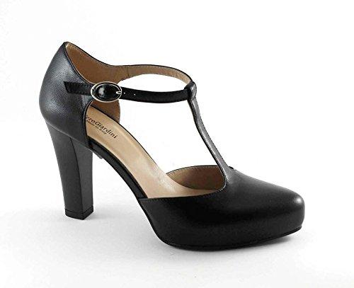 NEGRO JARDINES 17350 negro y sombrero de zapatos de tacón mujer mesetas Nero