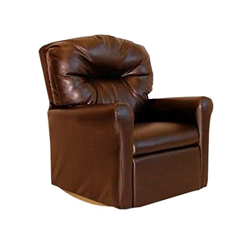 Rocker Brown Upholstered (Dozydotes Contemporary Child Rocker Recliner Chair - Pecan Brown Leather-Like)