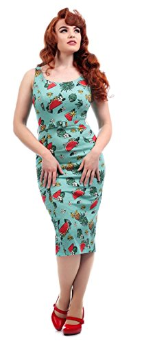 Pencil Tropical Bunten Ineis Motiven Ananas Damen Türkis Dress Kleid Collectif mit USxXtq