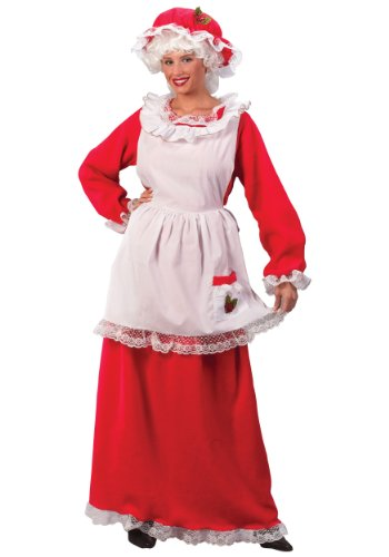 Mob Outfit (Fun World Costumes Women's Adult Mrs.Claus Promo Suit, Red/White, One Size)