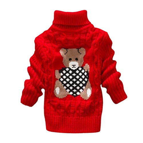 Mayunn Toddler Baby Boys Girls Cotton Bear Print Sweater Knit Crochet Tops Outfits Clothes (12 Months-6 ()