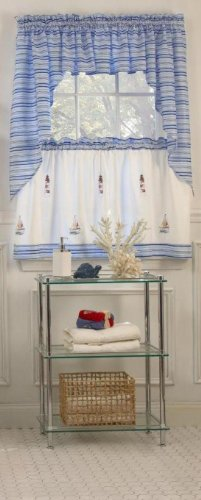 LORRAINE HOME FASHIONS Annapolis Tier, 56 by 36-Inch, Blue (Lighthouse Kitchen Curtains)