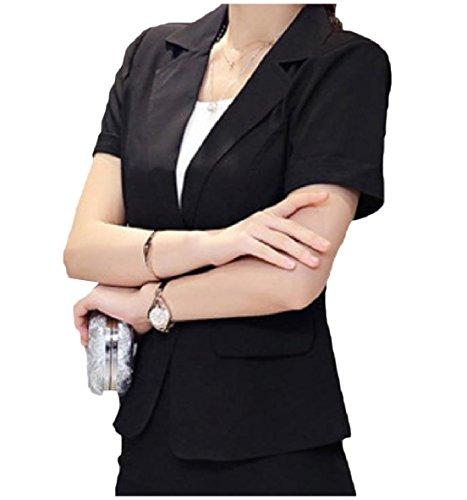 Zimaes-Women Casual Blazer Solid Short Sleeve Short Suit Jacket Black (Stretch Short Sleeve Blazer)