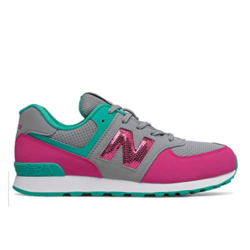 New Balance Girls 574v1 Lace-Up Sneaker, Steel/Carnival, 12.5 T M US Toddler (1-4 Years)