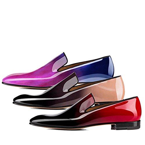 Koekoek Heren Laklederen Dress-schoenen Slip Op Oxford Loafers Rood
