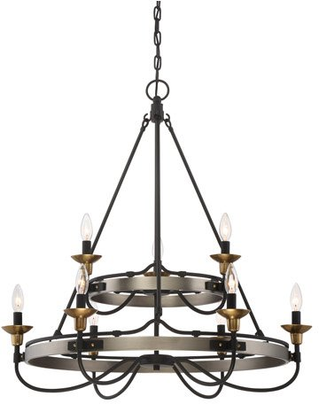 Quoizel CTH5009AN Castle Hill Two Rings Candle Chandelier, 9-Light, 540 Watts, Antique Nickel (33