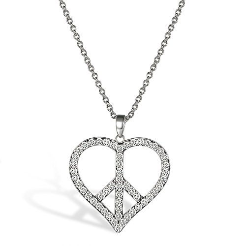- Aroncent 925 Sterling Silver Small Peace Sign CZ Heart Pendant Necklace Women Girls