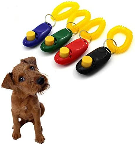 7 Colors TEHAUX 7Pcs Dog Training Clicker Pet Sound Trainer Clicker Training Tools Dog Ball Toy with Wrist Strap for Dog Cat Bird Horse