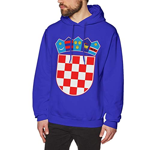 Men's Coat of Arms of Croatia National Emblem Hoodies Sweatshirt Pullover Sweater, Drawstring Hooded Sport Outwear Blue