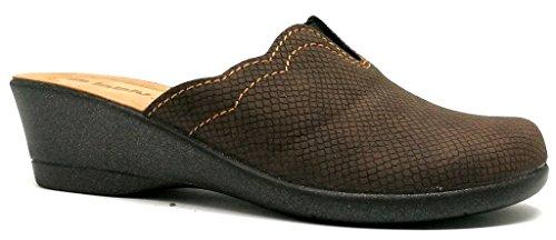 Inblu Pantofole Ciabatte Pour Femme Art. Kl-72 Éco-cuir Marron Foncé