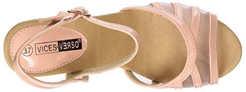 Sandales compensées roses vernies et dentelle à talon de 9,5cm
