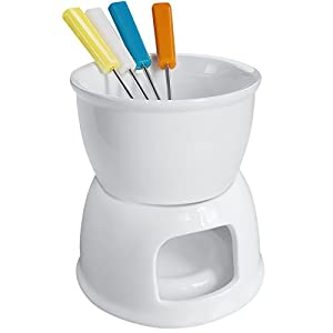 Tebery Fondue Set With 4 Color Forks, Premium Tea Light Porcelain Melting Pot For Cheese, Chocolate and Tapas - White