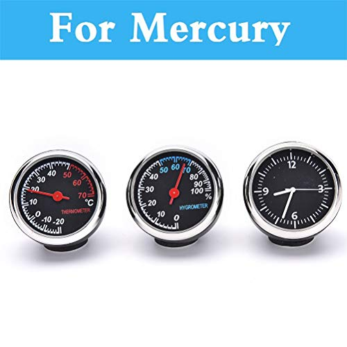 Fastener & Clip Car Thermometer Hygrometer Mechanical Round Quartz Clock Hygrometer for Mercury Marquis Mariner Milan Montego Grand - (Color Name: Thermometer)