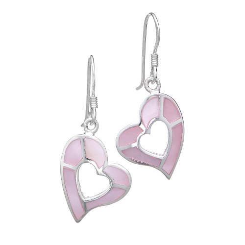 925 Sterling Silver Pink Mother Of Pearl Shell Heart Dangle Earrings 1.2