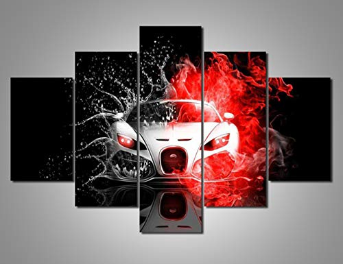 Red and Black Art Car Pictures Fire Car Wall Art 5 Pcs/Multi Panel Canvas Contemporary Artwork Home Decorations for Living Room Giclee Wooden Framed Ready to Hang Posters and - Fire Roadster Engine