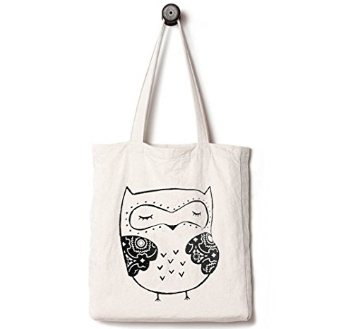 Andes Heavy Duty Canvas Tote Bag with 2 Pockets Inside, Handmade from 12-ounce Cotton, Best for Shopping, Laptop, School Books, Also Work as a Reusable Day Trip Handbag, The Owl of Wisdom -
