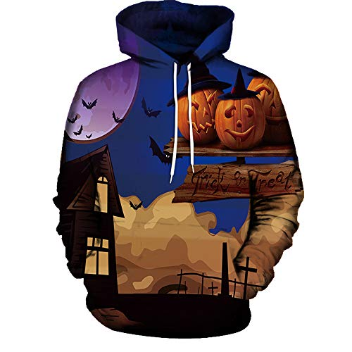 TWGONE Womens Sweaters Mode 3D Print Long Sleeve Halloween Lovers And Friends Clothing Hoodies Top Blouse Shirts(US-10/CN-L,Blue)