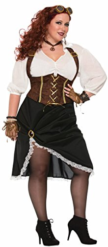 Forum Women's Steampunk Lady Costume with Corset Style Dress, As Shown, Plus (Plus Size Steampunk Costume)