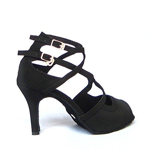 Shoes Shoes Suede Heels Shoes Tango GUOSHIJITUAN Bottom Latin Black Soft Dancing Social Women's Dance High Dancing Salsa qxtxRY