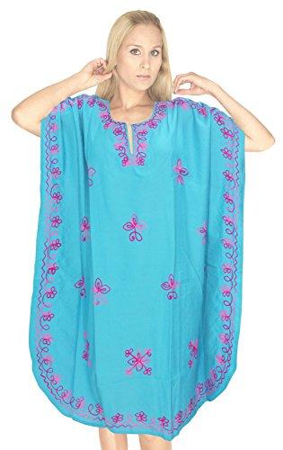 LA LEELA ricamati donne camicia da notte raion kaftano coprire maxi abito vintage Blu_c740