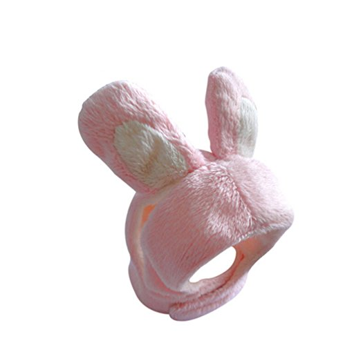 [Pink White Bunny Rabbit Pet Hat for Cats & Small Dogs Funny Pet Cosplay Costume with Stuffed Ears] (Pomeranian Costume)
