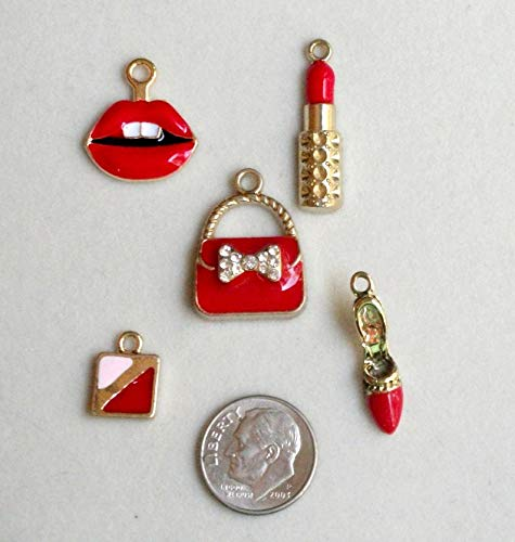 Jewelry Making Supplies Red Purse and Lipstick Ladies Charm Set, 5 Charms 1 Each Lipstick, Purse, Makeup Compact, red high Heel Shoe, red Open Lips DIY Charm,