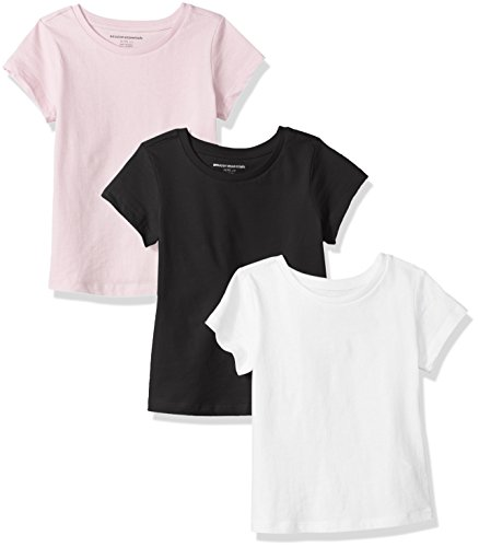 Price comparison product image Amazon Essentials Girls' 3-Pack Short-Sleeve Tee, White/Black/Pink, M (8)
