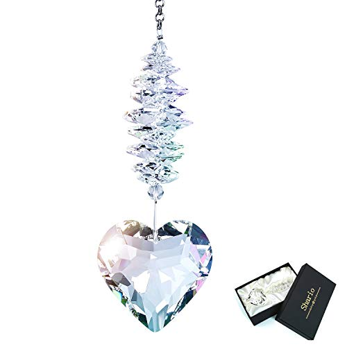 Shario 45mm Clear Glass Heart Crystal Ball Prism Pendant, Suncatcher for Windows, Outdoor Garden Hanging Décor, Gifts for Women, Mom and Children (Clear)