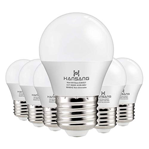 Hansang A15 LED Bulb Light 6 Watt (60w Equivalent),E26 Standard Base,5000K Daylight,600 Lumens,Frosted G45/A15 Bulb Shape,CRI>83,Ceiling Fan Light Bulb,Home Appliance Bulb,No Dimmable (6 (Best Hunter Tops Bathroom Exhaust Fans)
