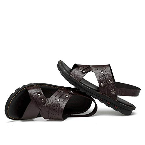 Playa Deportes Correa Dedo En La Al Zapatilla Abierta Hombres Deslizador Los Marrón Libre Estilo Del Cuero Aire De Tobillo Sandalias Auténtico Pie Zapatos qaEvZwx