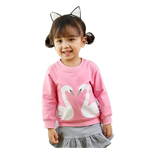 Baby Blouse Girl, Kids Swan Print Pullover Sweatshirt Tops Clothes By Orangeskycn (2T, Pink) -