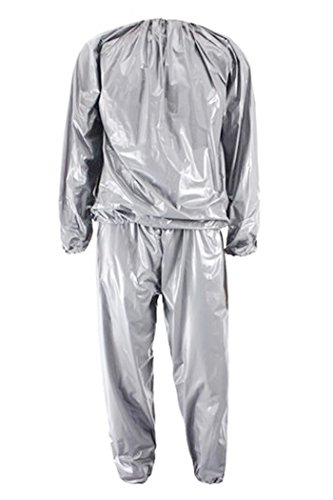Sauna Suit - SODIAL(R) Heavy Duty Fitness Weight Loss Sweat Sauna Suit Exercise Gym Anti-Rip Silver L