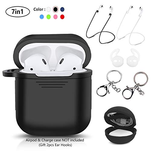 LKDEPO 7 in 1 Accessories Set Compatible Airpods Case [ Include Protective Silicone Case Cover/Ear Hook/Keychain/Strap/Travel Coin Bag ] (Black)