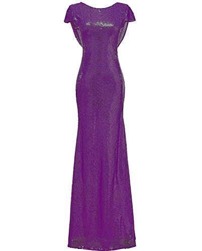 (SOLOVEDRESS Women's Mermaid Sequined Long Evening Dress Formal Prom Gown Bridesmaid Dresses (US 12,Purple))