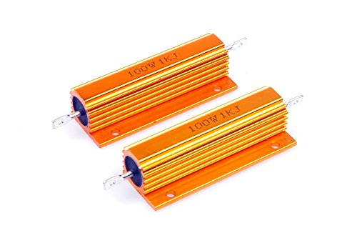 LM YN 100 Watt 1K Ohm 5% Wirewound Resistor Electronic Aluminium Shell Resistors Gold Suitable For Inverter, LED lights,Frequency Divider, Servo Industry Industrial Control - Ohm Resistors Wirewound