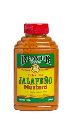 Beaver Extra Hot Jalapeno Mustard, 13 Ounce Squeeze Bottle (Pack of 6) by BEAVER