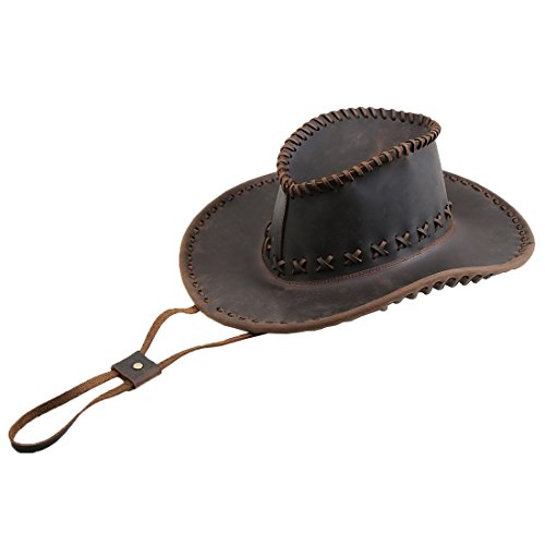 (Polare Handmade Full Grain Leather Cowboy Western Outback Hat Dark Brown)