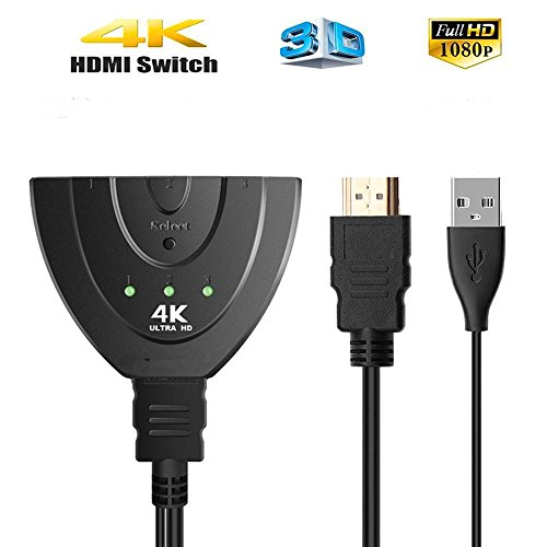 4K 1x3 HDMI Splitter With USB Charger Cable, AMAZBOX Hdmi Switcher Supports 2.0 60Hz HDCP 3D 1080P HD Video Audio for Blu-Ray/Chromebase/ROKU/Fire TV Stick/HD-DVD/Xbox 360 (3-IN 1-Out)