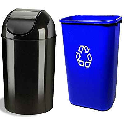 Combo of Umbra Grand 10-gallon Recycling Trash Can Waste ...
