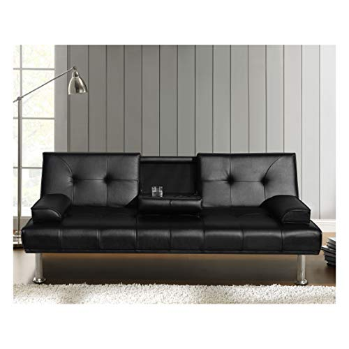 Cherry Tree Furniture Black ACRUX 3-Seater Sofa Bed Sleeper Sofa with Cup...