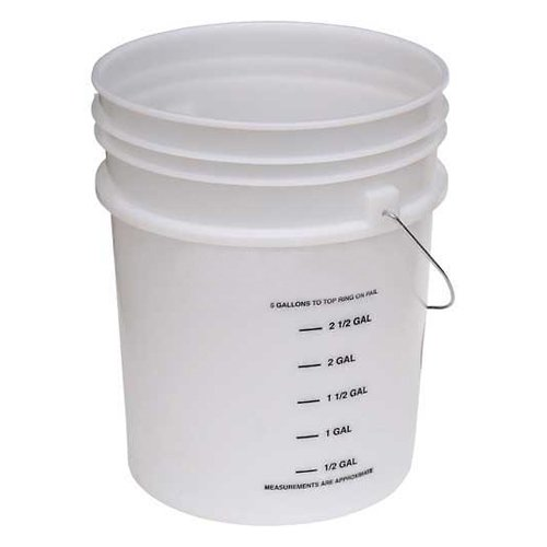 Vestil PAIL-54-PNS-G, 5 Gal Open Head Plastic Pail with Graduations, Steel Handle by Vestil