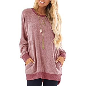 GADEWAKE Womens Casual Color Block Long Sleeve Round Neck Pocket T Shirts Blouses Sweatshirts Tops