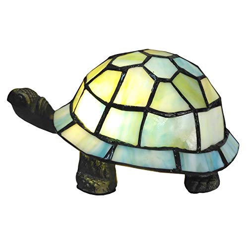 Bieye L10691 8 inch Turtle Tiffany Style Stained Glass Accent Table Lamp Night Light for Bedside Living Room Bedroom (Light Blue)