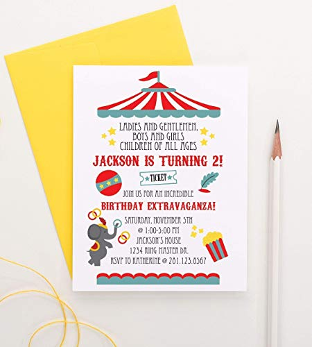 Circus Birthday Party Invitation, Carnival Birthday Invitation, Circus Birthday Invite, Carnival Birthday Invite, Your choice of Quantity and Envelope Color ()