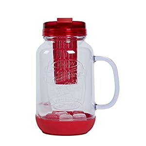 Rove 60 Oz Big M Water Bottle With Infuser And Ice Cubes BPA FREE leak-proof Reusable ice cubes (RED)