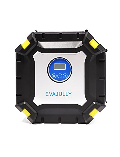 EVAJULLY Portable Air Compressor Pump, Auto Digital Tire Inflator, 12V 60 PSI Tire Pump for Car, Bicycle, and Other Inflatables