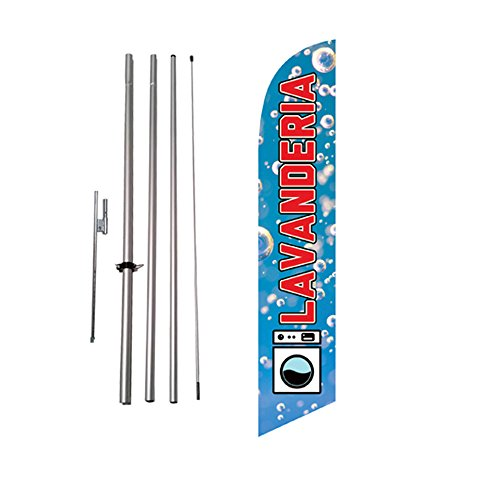 Lavanderia Laundromat Spanish Advertising Feather Banner Swooper Flag Sign with Flag Pole Kit and Ground Stake