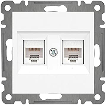 LUNIS - Caja de red con 2 entradas para 2 conectores RJ45 (cat. 6, con tapa), color blanco: Amazon.es: Bricolaje y herramientas